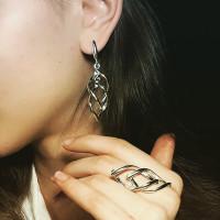 Комплект Парус - кольцо и серьги