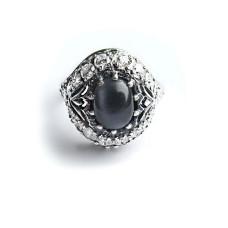 Кольцо Чалма с черным улекситом - кошачьим глазом
