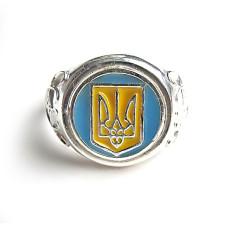 Кольцо с гербом Украины с эмалью