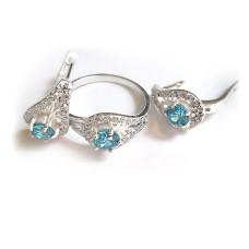 Комплект Капелька кольцо и серьги