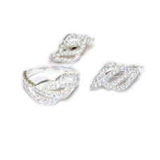 Комплект Волна - кольцо и серьги