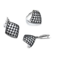 Комплект Ромб - кольцо и серьги