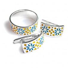 Комплект Вышиванка с эмалью - кольцо и серьги